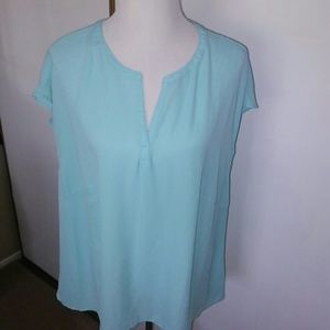 Light aqua blouse 1X